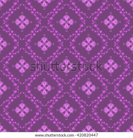 Damask seamless pattern. Royal wallpaper. Floral ornaments on a purple background. Vector illustration - stock vector