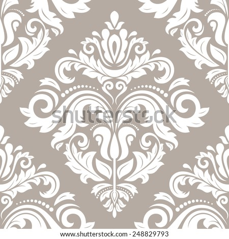 Damask seamless pattern. Vector traditional ornament with oriental elements for backgrounds - stock vector