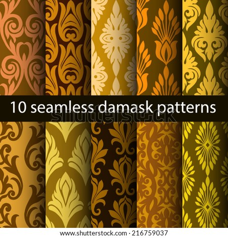 damask seamless patterns wallpapers - stock vector