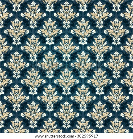 Damask Seamless Vector Pattern.  Elegant Design in Baroque Royal Style Background. Floral and Swirl Element. Blue Tone Color and Gradient.  Ideal for Textile Print and Wallpapers. - stock vector
