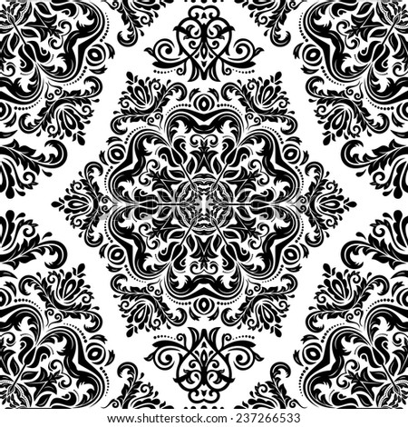 Damask vector floral pattern with arabesque and oriental black elements. Seamless abstract traditional ornament for wallpapers and backgrounds - stock vector