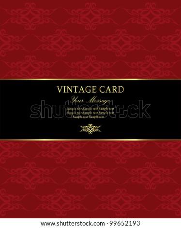 Damask  vintage card. Vector illustration - stock vector