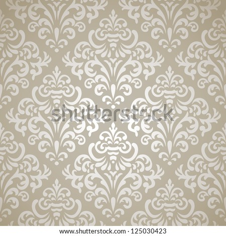 Damask vintage seamless pattern on gray gradient background - stock vector