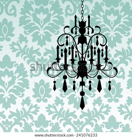 Damask wallpaper with chandelier - stock vector
