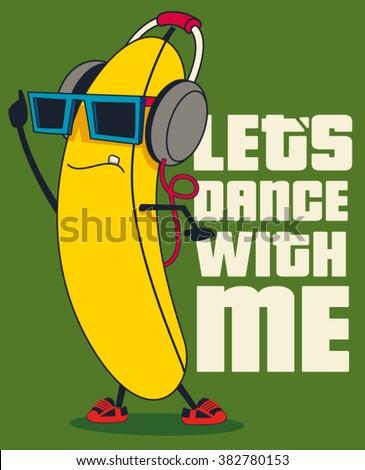 dance and Cartoon banana vector character - stock vector