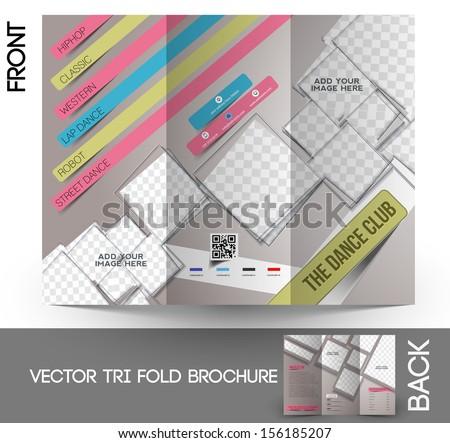 Dance Club Tri-Fold Mock up & Brochure Design - stock vector