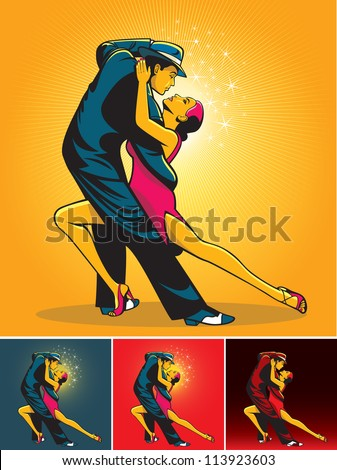 Dance pair in tango passion isolated over background color - stock vector