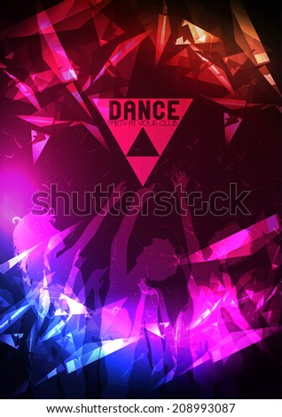 Dance Party Poster Background Template - Vector Illustration - stock vector