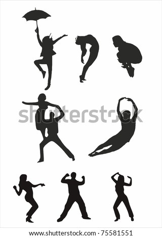 dance silhouette - stock vector