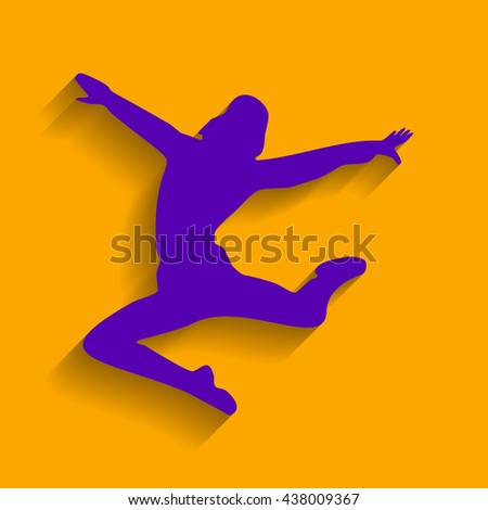 Dancer sign illustration. Violet icon with shadow on orange background. - stock vector