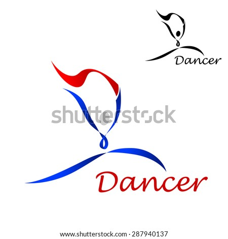 Dancer sporting emblem with dancing abstract figure of curling blue and red lines on white background with smaller black duplicate in the upper corner - stock vector