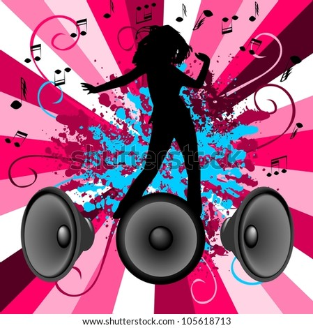 Dancing and music - stock vector
