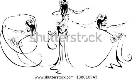dancing black woman silhouette on white - stock vector
