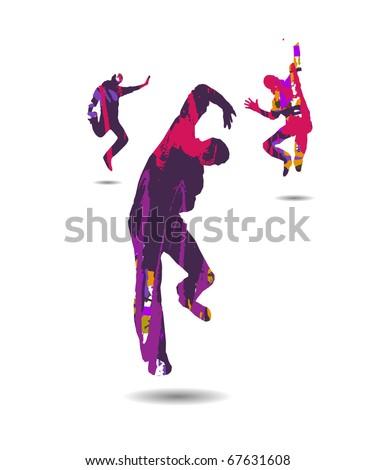 Dancing boys silhouette - stock vector
