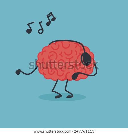 Dancing brain - stock vector