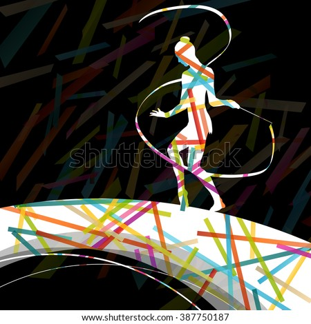 Dancing carnival woman with ribbon silhouette in abstract circus color background vector illustration - stock vector