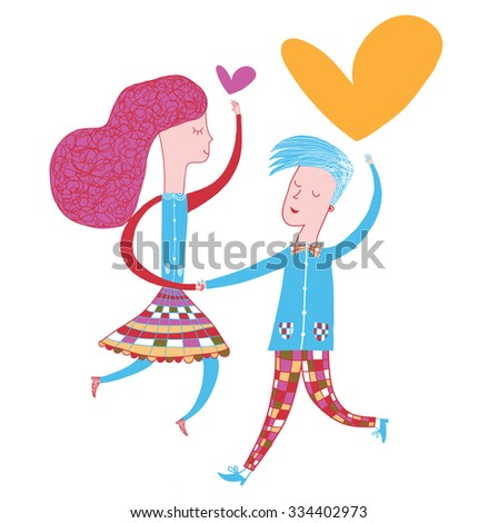 dancing couple in love  in vector. Modern illustration for greeting cards, packaging, decorative paper, school notebook, website, textile, fashion, souvenirs. Bright colors. - stock vector