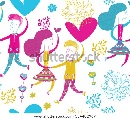 dancing couple in love  in vector. Modern seamless  pattern for greeting cards, packaging, decorative paper, school notebook, website, textile, fashion, souvenirs. Bright colors. - stock vector