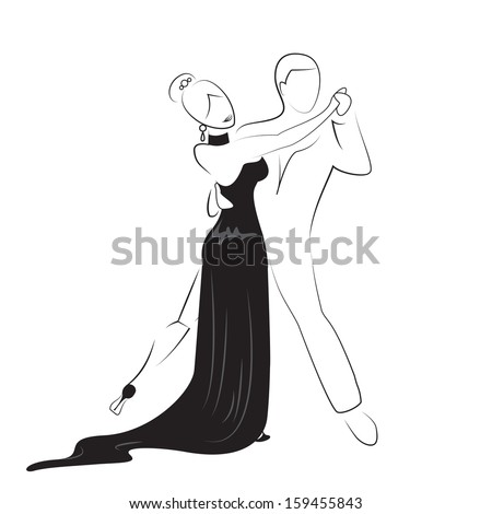 Dancing Couple - Isolated On White Background - Vector Illustration, Graphic Design Editable For Your Design - stock vector