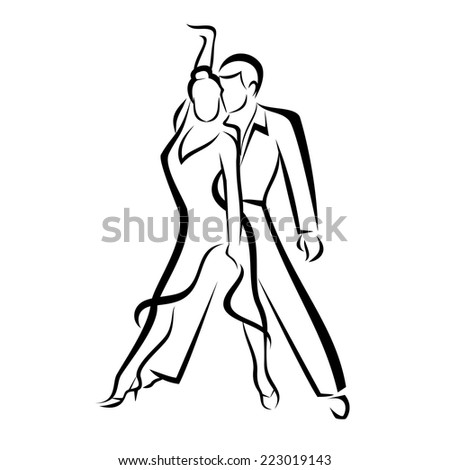 dancing couple, outlined vector sketch - stock vector