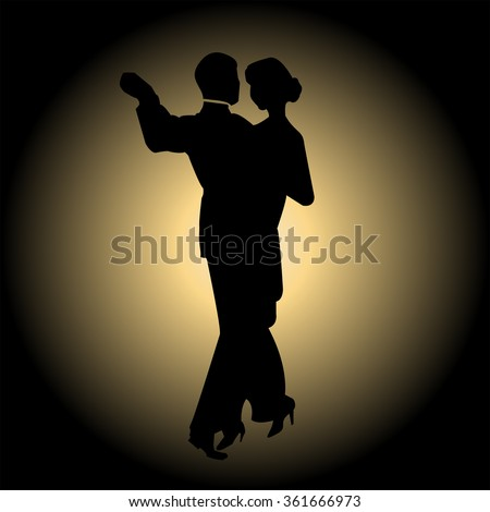 Dancing couple silhouette - stock vector