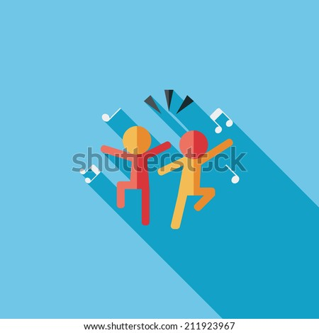Dancing flat icon with long shadow,eps10 - stock vector