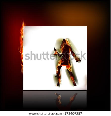 Dancing girl in fire, Ripped paper design and flames  - stock vector