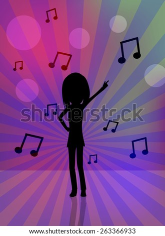 Dancing girl silhouette with music sheets - stock vector