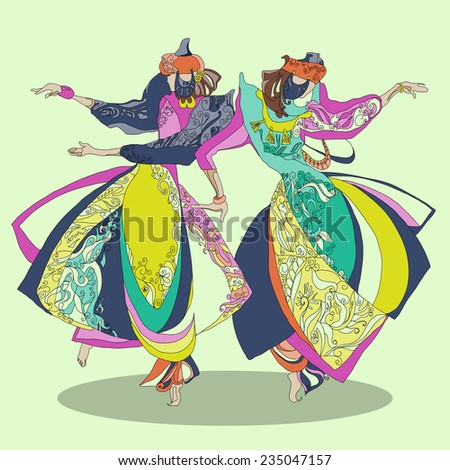 Dancing girls in traditional costumes. fashion vector  illustration. - stock vector