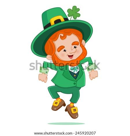 Dancing Leprechaun - stock vector