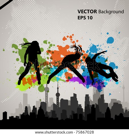 dancing over city background - stock vector