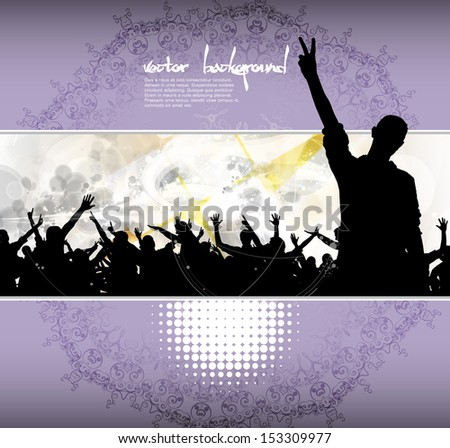 Dancing people. Concert crowd. Vector - stock vector