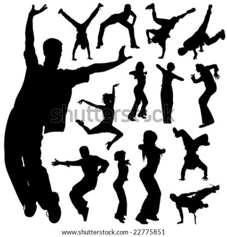 dancing people set vector - stock vector