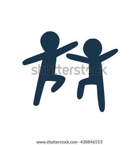 dancing people silhouette - stock vector