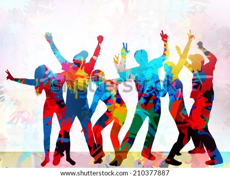 Dancing people silhouettes - stock vector