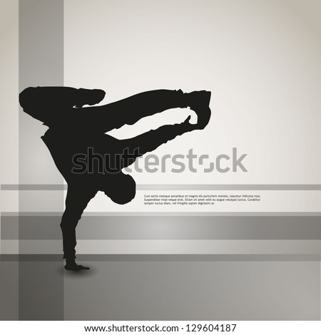 dancing silhouette, breakdance, clip-art - stock vector