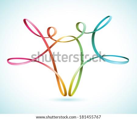 Dancing string figures vector - stock vector