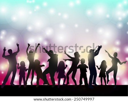 dancing women and men with background - stock vector