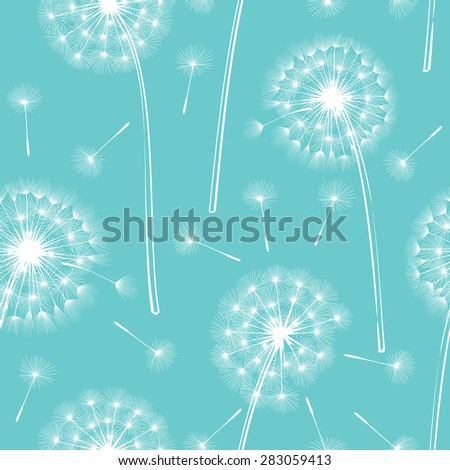 Dandelion against the blue sky. Nature background. Vector illustration. - stock vector