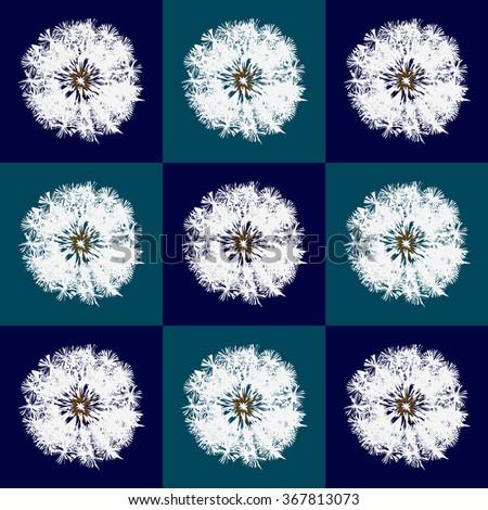 Dandelion back pattern pop-art blue - stock vector