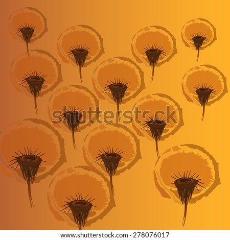 Dandelion flowers on a yellow background. - stock vector