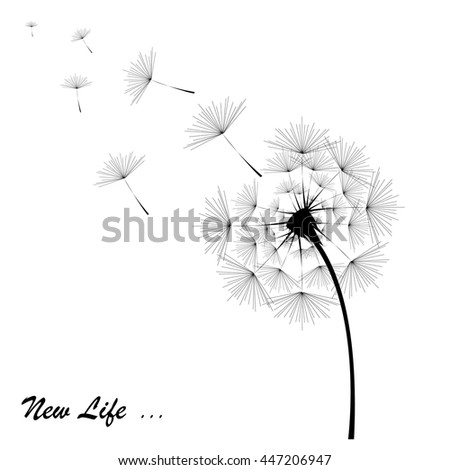 Dandelion in black with the inscription on the white background - stock vector