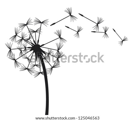 dandelion in the wind - stock vector