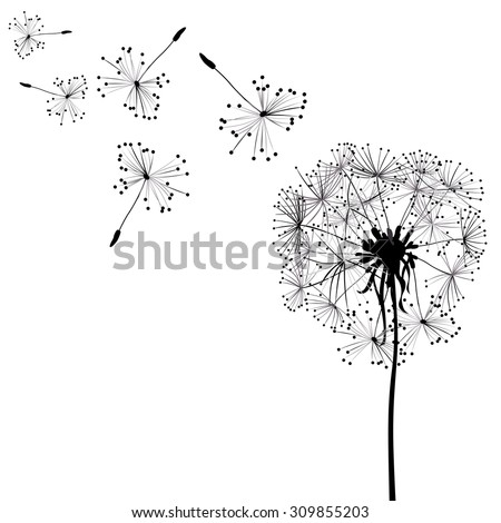dandelion in wind - stock vector