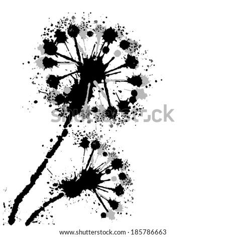 dandelion on a white background. Vector  - stock vector