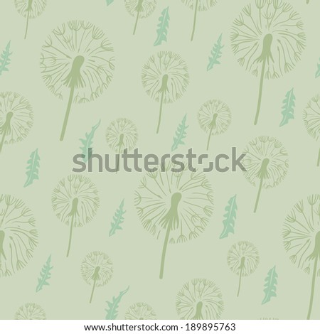 Dandelion seamless pattern. on a pastel background.Texture for web, print, textile, wallpaper, wrapping paper. - stock vector