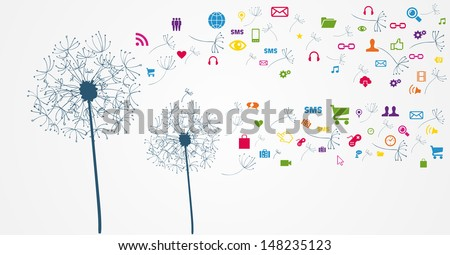 Dandelion Social media network flying icons set. Vector file layered for easy manipulation and custom coloring. - stock vector