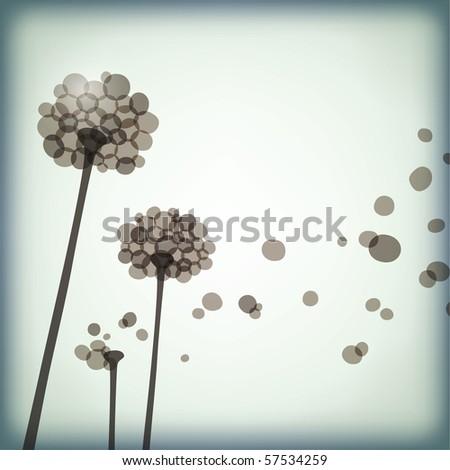 dandelions - stock vector
