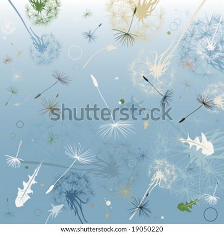 dandelions in the wind - stock vector