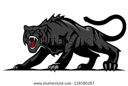 Danger black panther or puma for mascot and tattoo design. Jpeg version also available in gallery - stock vector